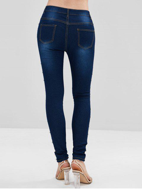 Skinny Faux Pearls Jeans - Azul Oscuro de Denim XL Mobile