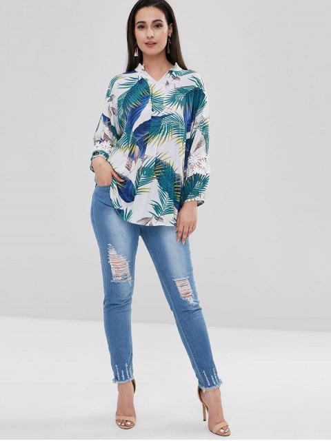 Bleach Wash Skinny Destruido Jeans - Azul Denim S Mobile
