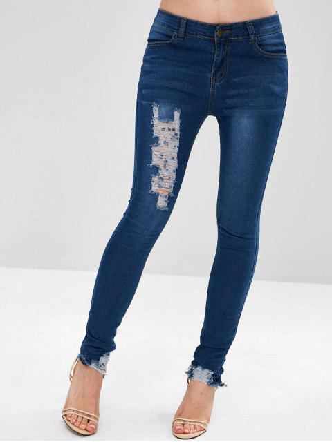 Jeans destruidos flacos - Azul Denim L Mobile