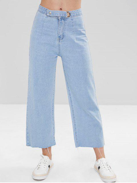 fancy Frayed Wide Leg Ninth Jeans - DENIM BLUE L Mobile