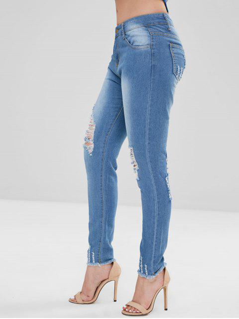 Bleach Wash Skinny Destruido Jeans - Azul Denim 2XL Mobile