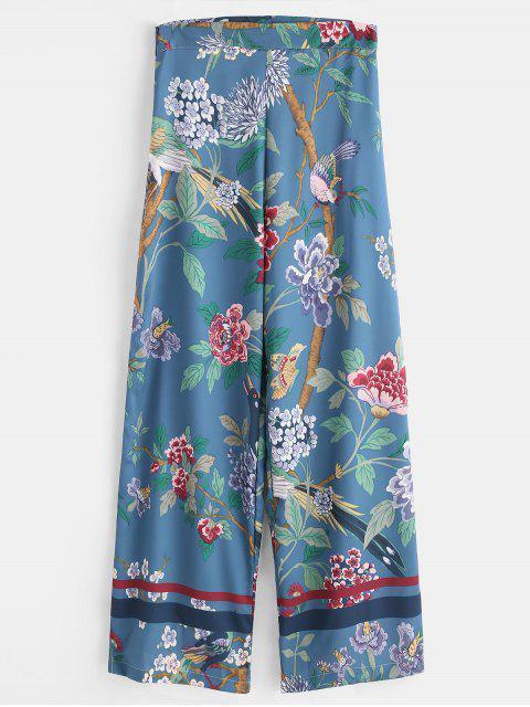 women's Wide Leg Flower Print Palazzo Pants - MULTI M Mobile
