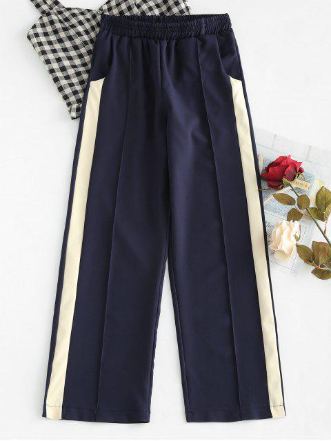 trendy High Rise Contrast Palazzo Pants - DEEP BLUE L Mobile