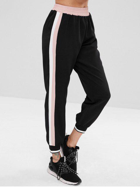 chic Contrast Side Sports Jogger Pants - BLACK L Mobile