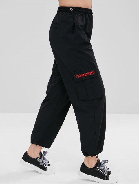 womens Side Pocket Drawstring Casual Pants - BLACK L Mobile