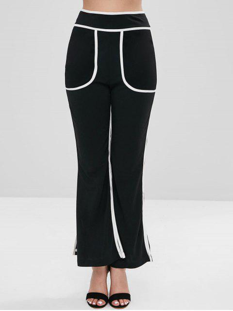chic Slit Piped Boot Cut Pants - BLACK XL Mobile