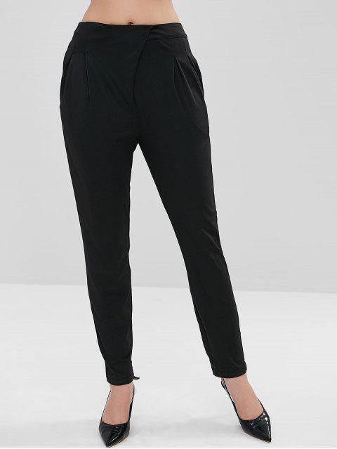 women Ruched Straight Pants - BLACK XL Mobile