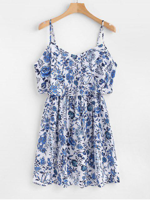 hot Floral Cami Overlay Dress - BLUE L Mobile