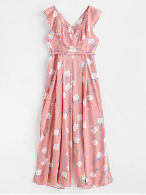 womens Ruffles Floral Wide Leg Jumpsuit - LIGHT PINK L Mobile