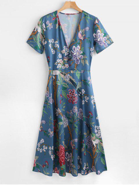 best Low Cut Flower Print A Line Dress - MULTI L Mobile