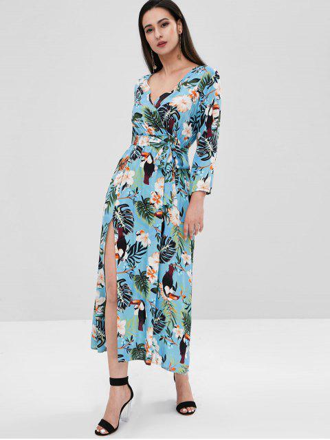 latest Floral Bird Print Slit Surplice Dress - LIGHT BLUE L Mobile