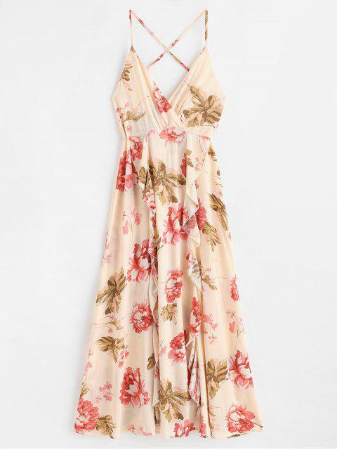 women Ruffles Floral Maxi Cami Dress - MULTI L Mobile