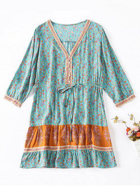 fashion Buttoned Floral Print Drawstring Dress - MACAW BLUE GREEN L Mobile