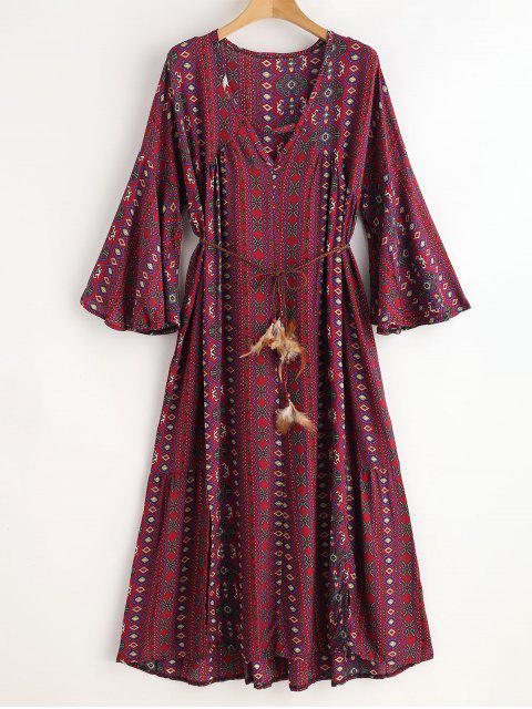 outfit Ethinc Plunging Bell Sleeve Slit Dress - RED WINE ONE SIZE Mobile