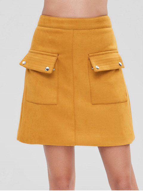 women High Waist Suede Pocket Skirt - BEE YELLOW L Mobile