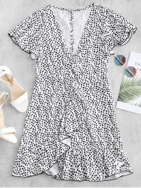 women's Cutout Ruffles Mini Dress - WHITE L Mobile