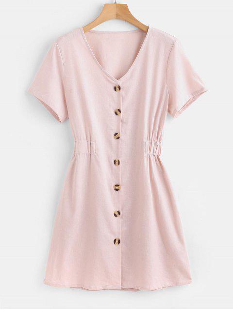 outfits Button Down Mini Dress - PEARL L Mobile