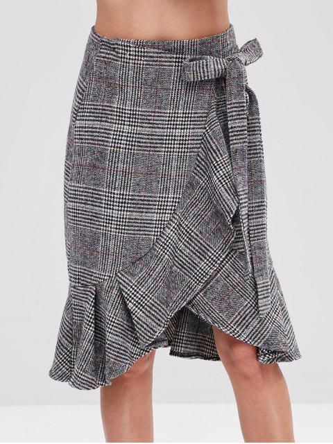 latest Flounce Hem Plaid Wrap Skirt - MULTI XL Mobile