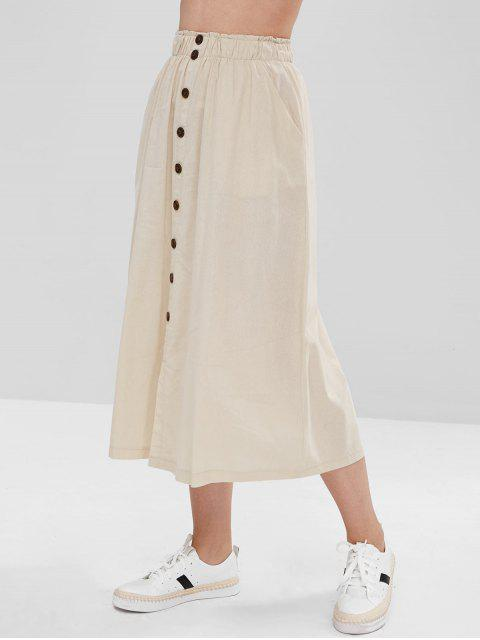 trendy Buttoned Slit A Line Skirt - CRYSTAL CREAM S Mobile