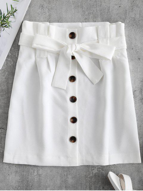 sale Button Front Belted Mini Skirt - WHITE L Mobile
