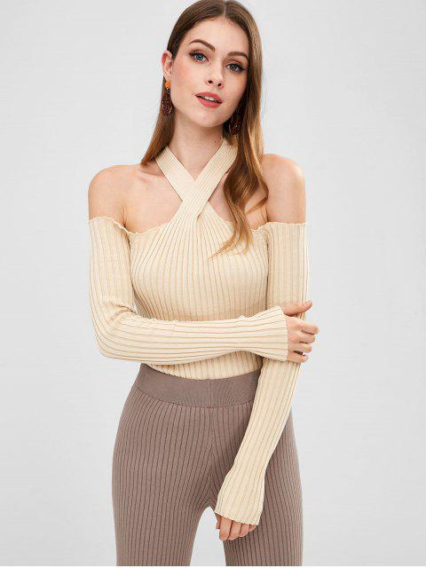 women's Cold Shoulder Fitted Knit Top - BEIGE ONE SIZE Mobile