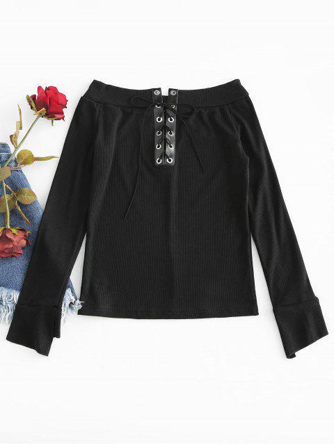 best Lace Up Off Shoulder Knit Top - BLACK ONE SIZE Mobile