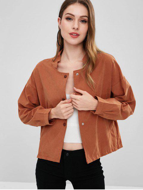 shops Lightweight Button Front Dolman jacket - ORANGE SALMON L Mobile
