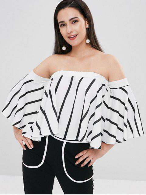 affordable Striped Flowing Bell Sleeve Off The Shoulder Top - MULTI M Mobile