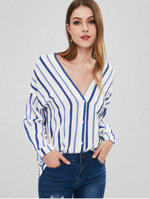 online Button Up Striped Loose Blouse - STEEL BLUE M Mobile