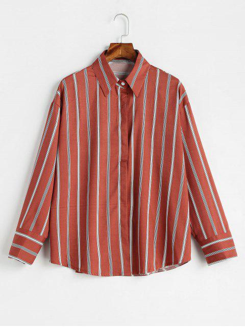 outfits Casual Vertical Striped Shirt - BEAN RED M Mobile