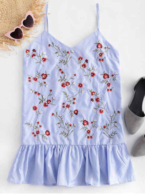 fashion Pinstripe Floral Embroidered Cami Top - MULTI M Mobile