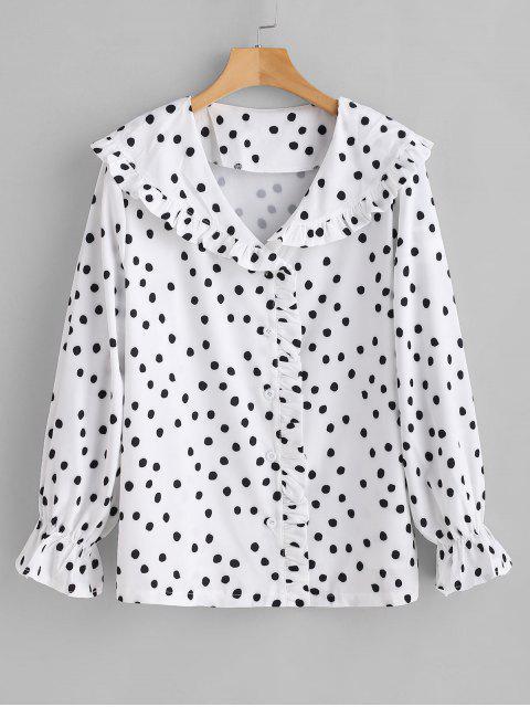 women Polka Dot Pleated Hem Blouse - WHITE XL Mobile