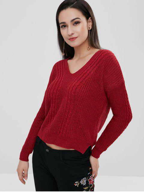 ladies High Low Criss Cross Sweater - CHERRY RED ONE SIZE Mobile