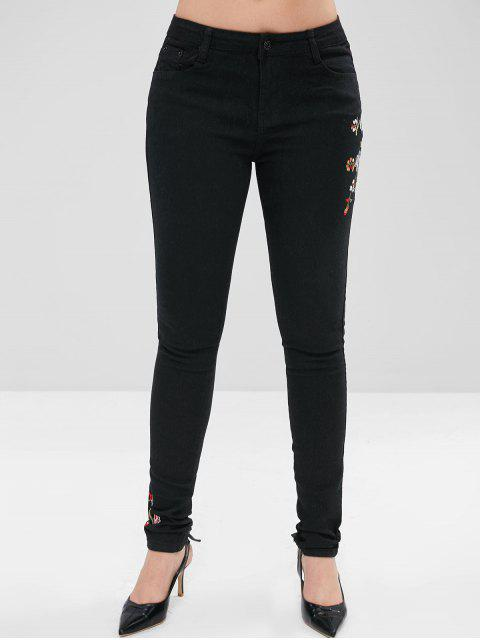 Bordado de flores pantalones vaqueros lápiz - Negro M Mobile