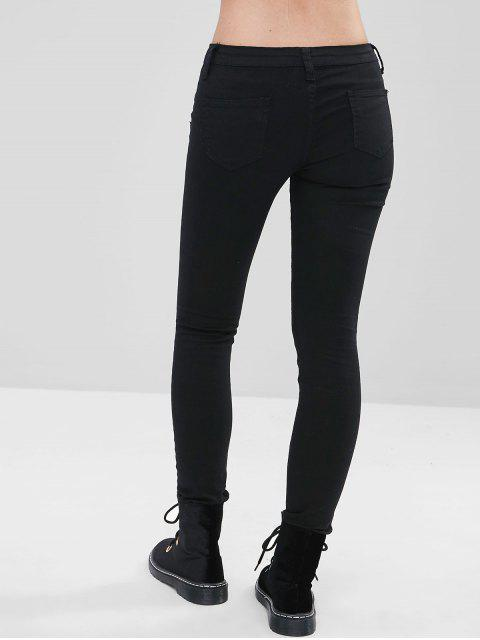 Jeans bordados con flores bordadas - Negro L Mobile