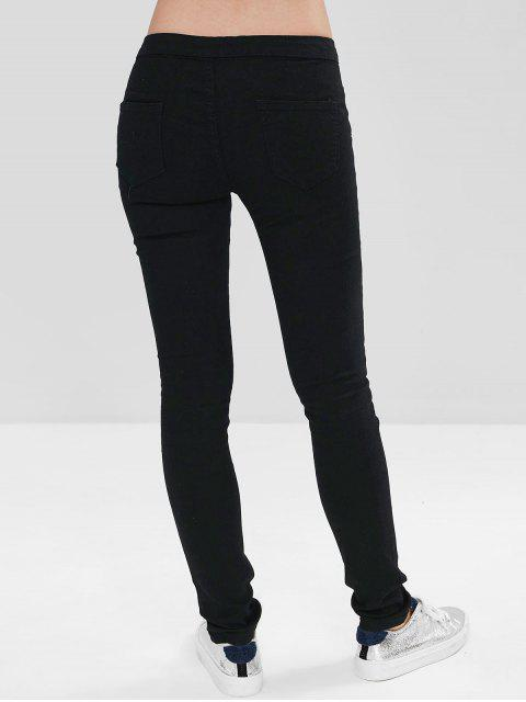 Skinny Distressed Zip Fly Jeans - Negro L Mobile