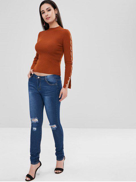 Bleach Wash Skinny apenado jeans - Azul Oscuro de Denim M Mobile