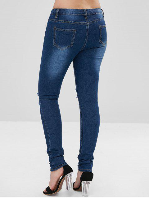 Bleach Wash Skinny apenado jeans - Azul Oscuro de Denim 2XL Mobile