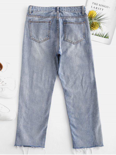 Jeans ajustados muslo noveno - Azul Denim M Mobile