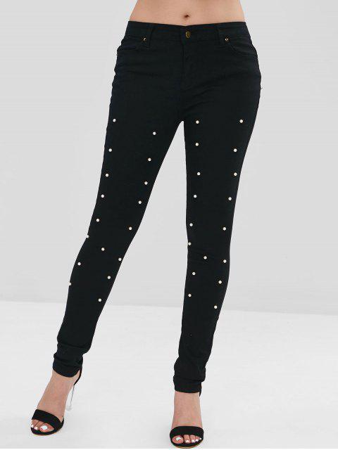 Pantalones ajustados con adornos de perlas de imitación - Negro M Mobile