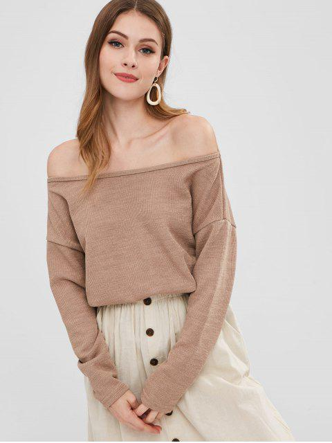 ladies Off Shoulder Drop Shoulder Ribbed Sweatshirt - TAN M Mobile