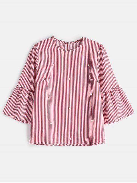 lady Striped Faux Pearl Beaded Top - RED M Mobile