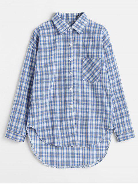 フロントポケット長袖チェック柄シャツ - ライトブルー ワンサイズ Mobile