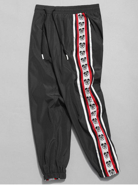 affordable Side Bear Logo Striped Jogger Pants - BLACK M Mobile