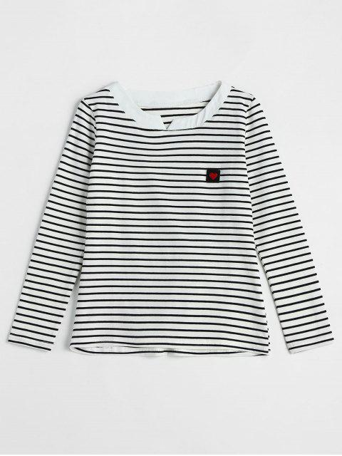 Camiseta con estampado de rayas de manga larga de Heart Label - Blanco XL Mobile