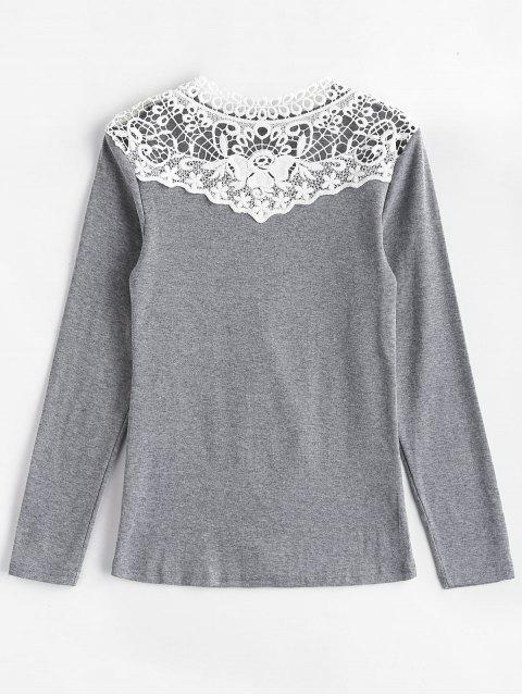 Langärmliges Crochet Lace Yoke T-Shirt - Grau M Mobile