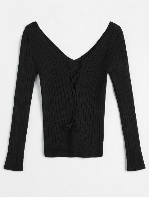 hot Criss Cross Plunging Neckline Ribbed Knitwear - BLACK ONE SIZE Mobile