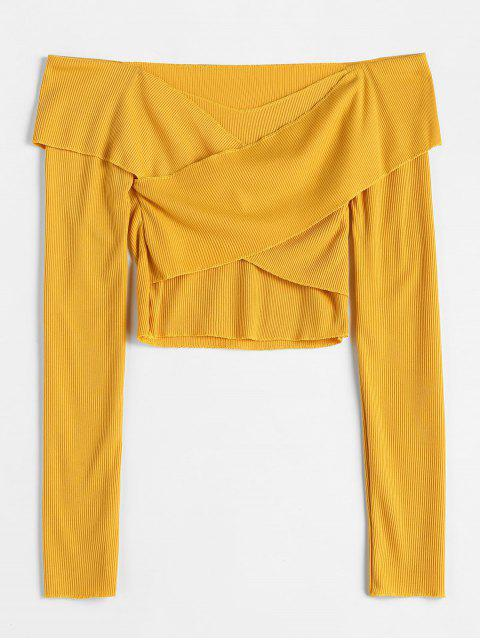 sale Cross Front Cropped Knitwear - YELLOW M Mobile