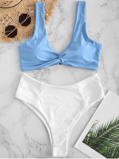 chic ZAFUL Twist Color Block Bikini Set - LIGHT SKY BLUE S Mobile