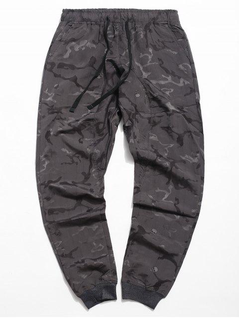 fashion Drawstring Skull Print Jogger Pants - GRAY CLOUD XL Mobile